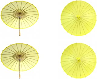Koyal Wholesale 32-Inch Paper Parasol, 4-Pack Umbrella for Wedding, Bridesmaids, Party Favors, Summer Sun Shade (4, Yellow)