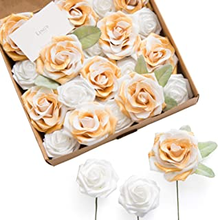 Ling's moment Artificial Flowers Gold-Tipped Roses 20pcs White & Gold Roses with Stem for DIY Wedding Centerpieces Floral Arrangements Cake Decorations
