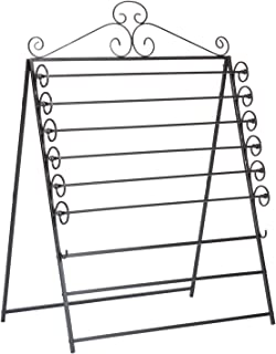 Southern Enterprises Easel/Wall Mount Craft Storage Rack - Black Metal Frame - 6 Movable Racks
