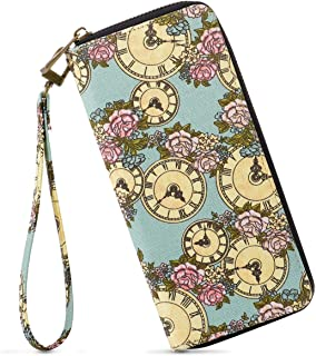 Women's Zipper Long Clutch Purse Credit Card Wallets to Organize Your Cash,Bank Card,and Phone with Removable Wristlet Strap