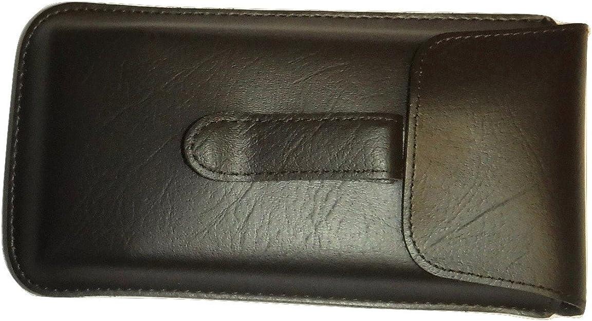 Semi Hard Pocket Clip EyeGlass case Large Size (Brown)