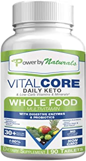 Power By Naturals - Keto Vital Core - Daily WholeFood Multivitamin Low Carb Diet Supplement with Minerals, Electrolytes, D...