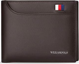WILLIAMPOLO Mens Slim Wallet Genuine Leather Minimalist Credit Card Holder Bifold Stylish Men Wallets Short Money Clip With 2 ID Window (Brown)