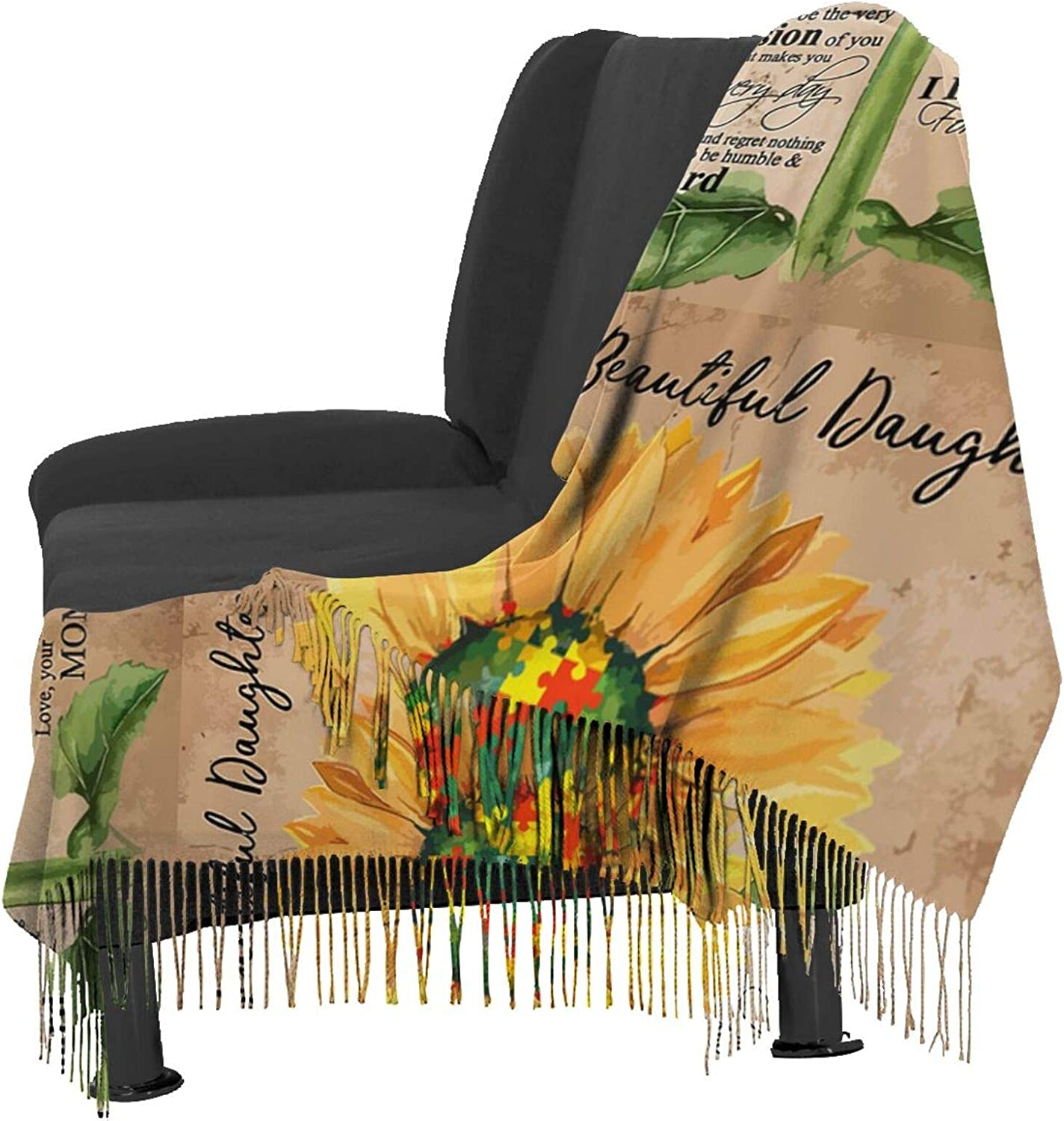 Sunflower To My Daughter Cashmere Feel Scarf Lightweight Soft Scarfs For Boys Girls Creative Warm Cold Weather Blanket Scarf