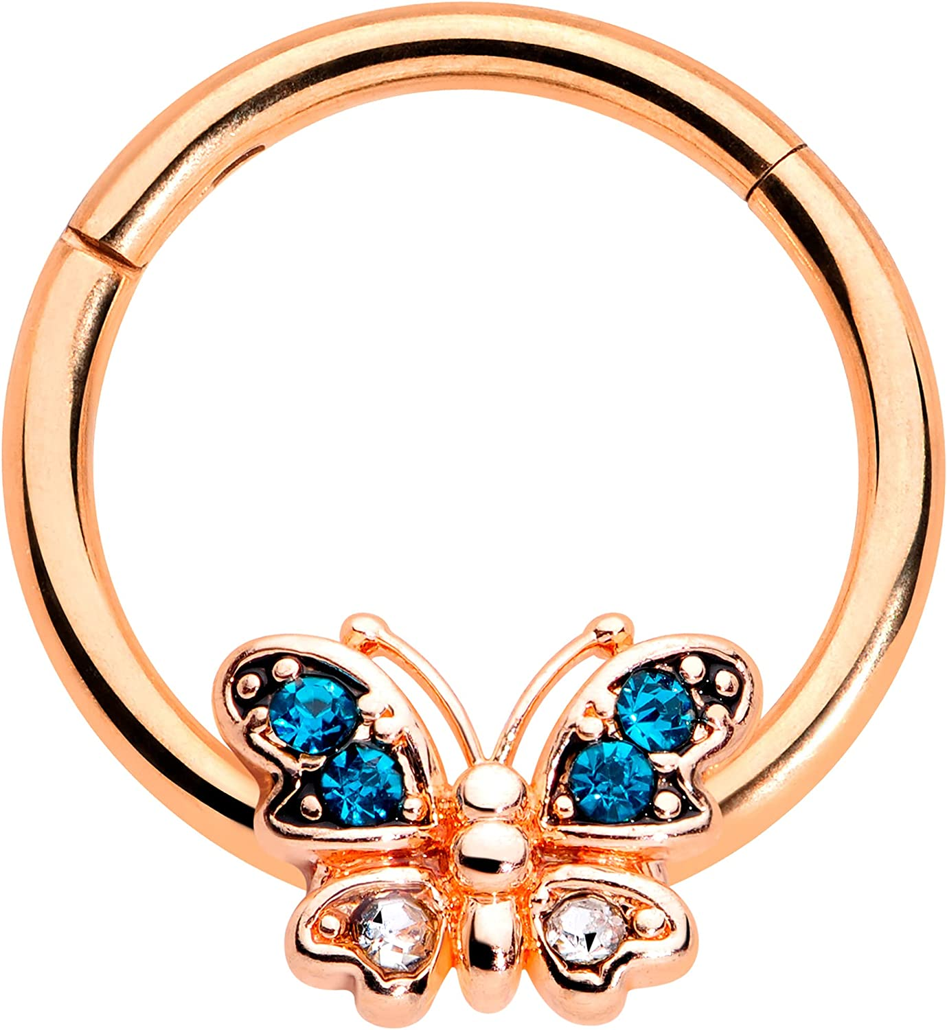 Body Candy 16G PVD Steel Hinged Segment Ring Seamless Cartilage Nipple Ring Blue Butterfly Nose Hoop 3/8