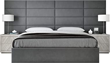 """Vänt Upholstered Wall Panels - Queen/Full Size Wall Mounted Headboards - Micro Suede Gray - Panel Size 30"""" Wide x 11.5"""" High - Pack of 4 Panels"""
