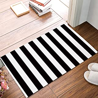Simple Doormat,Black and White Vertical Stripe,Decorative Felt Floor Mat with Non-Skid Backing,Fit for Home Indoor,Super A...
