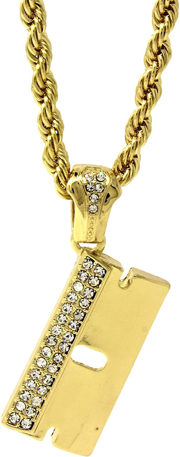 Jewel Town Mens Gold Plated Iced Razor Blade Hip-Hop Pendant 24