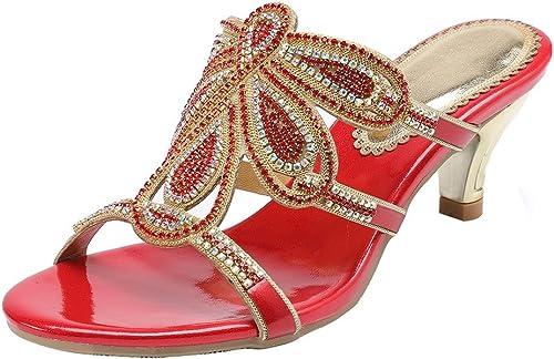 ZHANG8 mujeres Roma Rhinestone Flores Punta Abierta Manual Bomba Vestido Sandalias rojo, rojo