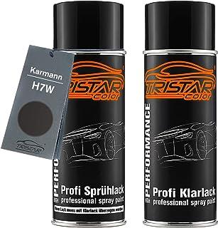 TRISTARcolor Autolack Spraydosen Set für Karmann H7W Natural Grey Metallic/Cinza Iron Metallic Basislack Klarlack Sprühdose 400ml