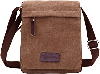 Small Vintage Canvas+Leather Messenger Cross body bag Pack Organizer for Travel Hiking Climbing
