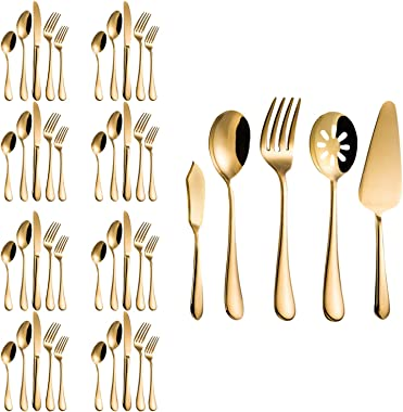 Flatware Set, Magicpro Modern Royal 45-Pieces gold Stainless Steel Flatware for Wedding Festival Christmas Party, Service For