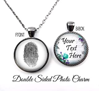 Custom Actual Fingerprint, Handprint or Footprint Necklace or Key Chain Charm with Your Custom Text on back – Double Sided Round Pendant Jewelry
