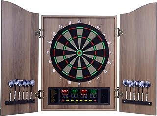 XHLLX Elektronisk dartbräda, inbyggda skåpdörrar med integrerad displaypanel, ett dartlager för 6 darts, dubbel display i ...