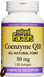 Natural Factors, Coenzyme Q10 50 mg, Antioxidant Support for Healthy Cellular Energy and Heart Function, 120 softgels (120 servings)