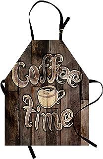 ABAKUHAUS Moderno Delantal de Cocina, Frase Tiempo de Café con Taza en Fondo de Madera Desgastado Imagen para Cocina, Esta...