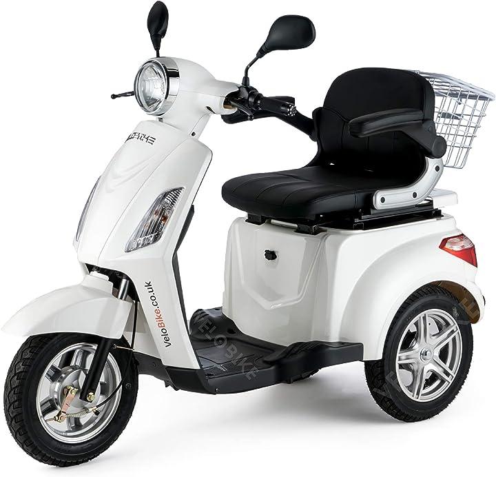 Scooter elettrico 3 ruote scooter per disabili anziani 25km/h 900w zt15 bianco veleco TMEC508