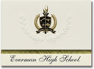 Signature Ankündigungen EVERMAN High School (EVERMAN, TX) Graduation Ankündigungen, Presidential Stil, Elite Paket 25 Stück mit Gold & Schwarz Metallic Folie Dichtung B078VDXT6F  Starker Wert