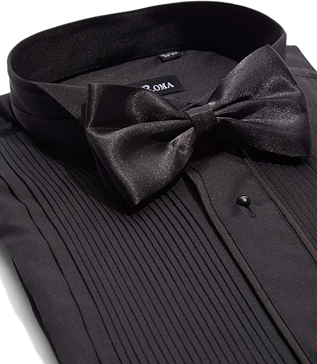 Mens Tailored Fit French Cuff Tuxedo Shirt with Bow Tie