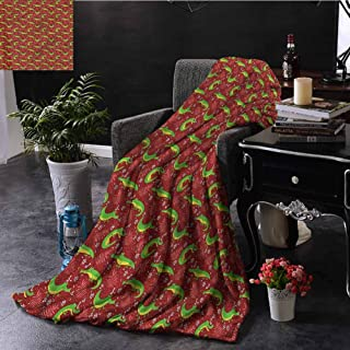 SSKJTC Burgundy Pom Pom Throw Blanket Crocodiles Wildflowers Bedroom Dorm Sofa Baby Cot Beach W50 xL60