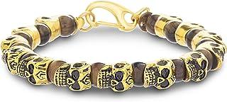 Steve Madden Yellow Gold IP Plated Stainless Steel Brown Beaded Skull Bracelet for Men