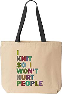 BeeGeeTees I Knit So I Won't Hurt People Funny Tote School Office Canvas Reusable Grocery Shopping Knitting Bag