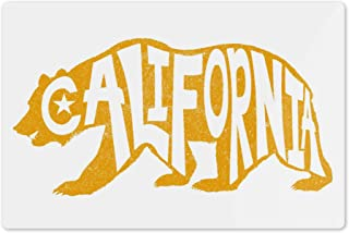 Lantern Press Los Angeles, California - Bear Outline - Typography 87503 (6x9 Aluminum Wall Sign, Wall Decor Ready to Hang)