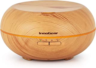 InnoGear 500ml Aromatherapy Essential Oil Diffuser Wood Grain Ultrasonic Cool Mist Diffusers with 7 Color LED Lights Waterless Auto Shut-Off, Large