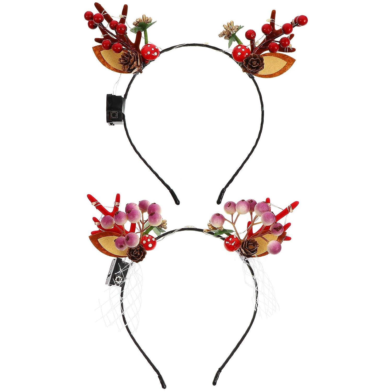 FRCOLOR 2pcs Christmas Luminous Reindeer Headbands Glow Antler Hairband Party Supplies for Women Girls