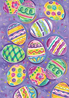 Toland Home Garden Egg Toss 28 x 40 Inch Decorative Colorful Painted Easter Eggs House Flag