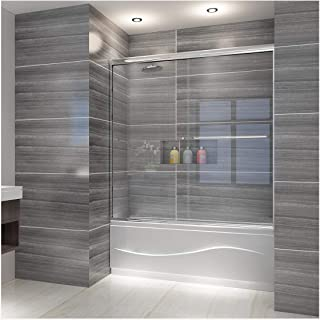 ELEGANT Bypass Sliding Bathtub Glass Shower Door, 1/4 in. Clear Tempered Shower Glass Door Panel, 60 in. W x 57 3/8 in. H Shower Enclosure, Chrome Finish