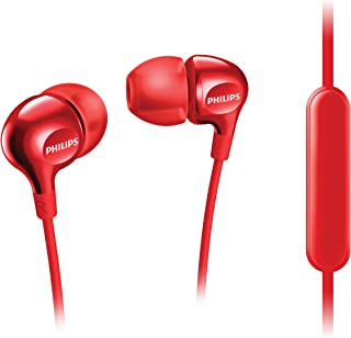 Philips SHE3705BK/00 In-Ear Earphones With Microphone Mic – Rich Bass, Reinforced Cable, Perfect Fit (SHE3705RD/00)