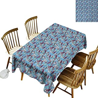 Rectangular Tablecloth W50 x L80 Floral Japanese Summer Season Blooms on Tree Branches Vibrant Fresh Leaves Dark Purple Army Green Blue Suitable for Traveling Outdoors Family Restaurant Coffee Shop