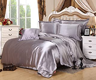 Lldaily 4-Piece Imitated Silk Fabric Duvet Cover Set,Luxury Bedding Sets,Silk Sheet Set with Ultra Soft Duvet cover+Pillowcases+Flat Sheet,Full,Gray