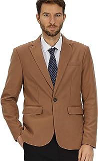 WEEN CHARM Men Woolen Blazer Slim Fit One Button Casual Tweed Suit Jacket
