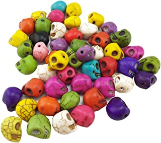 yueton?Pack of 50 DIY Mixed Color Turquoise Skull Head Loose Spacer Bead Charm for Crafting, Jewelry Making Accessory