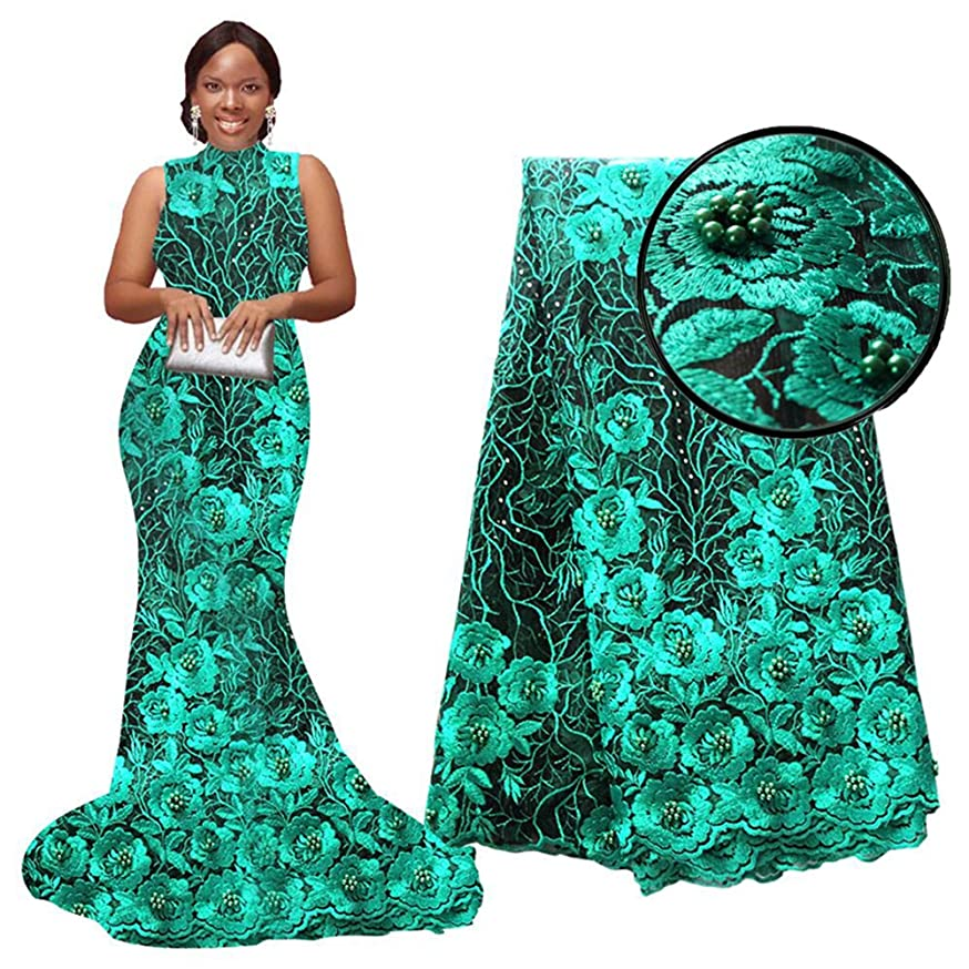 pqdaysun African Lace Fabrics 5 Yards 2018 Nigerian Lace French Fabric Embroidered and Rhinestones Beaded Trim Cord Lace F50690 (Dark Green, 5 Yards)