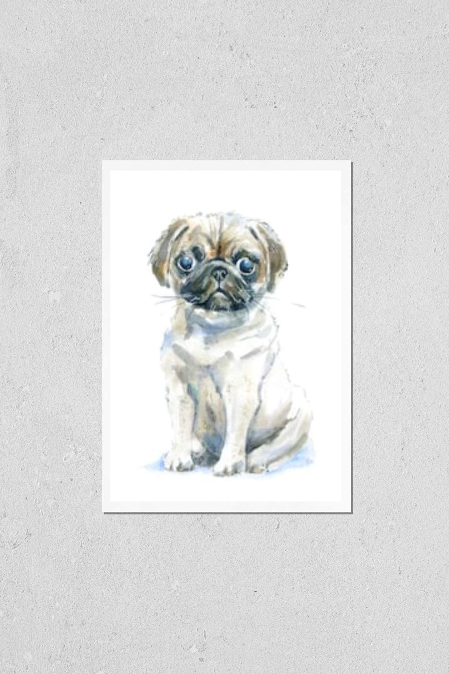 KwikMedia Ranking TOP4 Poster Reproduction of Pug a Cheap sale Do Card Puppy.Greeting