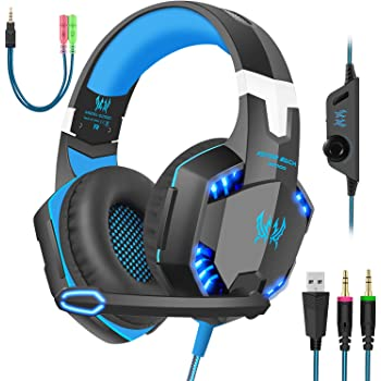 Computer WAWRR Computer Wired Headset Over Ear Headphones with Surround Sound Laptops Memory Foam Ear Pads 3.5MM Jack for Smart Phone