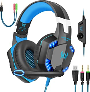 Gaming Headset with Mic for PC,PS4,Xbox One,Over-Ear Headphones with Volume Control LED Light Cool Style Stereo,Noise Redu...
