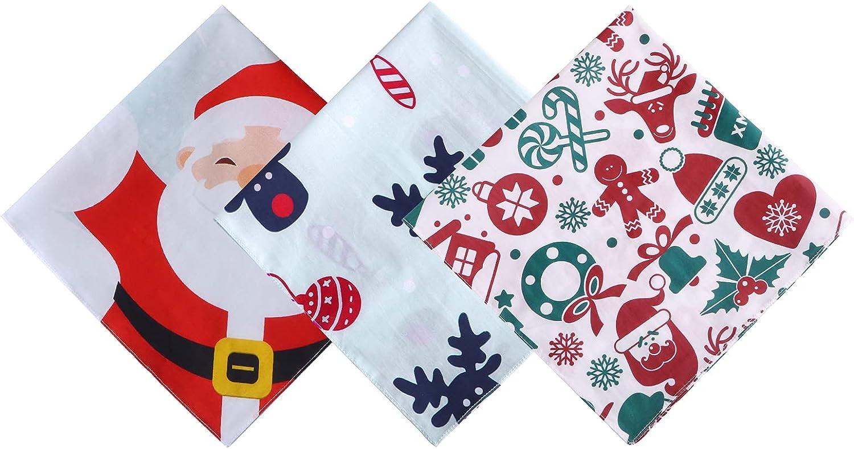 PACGOTH Christmas 100% Cotton Handkerchiefs Santa Moose Trees Gingerbread Man Pattern Hankies Gift Sets For Men Women Kids