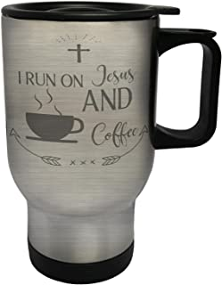 I Run On Jesus And Coffee Stainless Steel Thermo Travel Mug 14oz k841ts