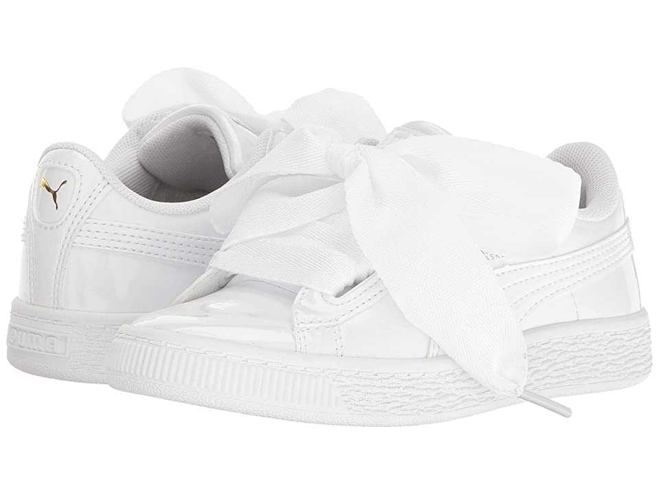 Puma Kids Basket Heart Patent (Little Kid/Big Kid) (Puma White/Puma White) Girl