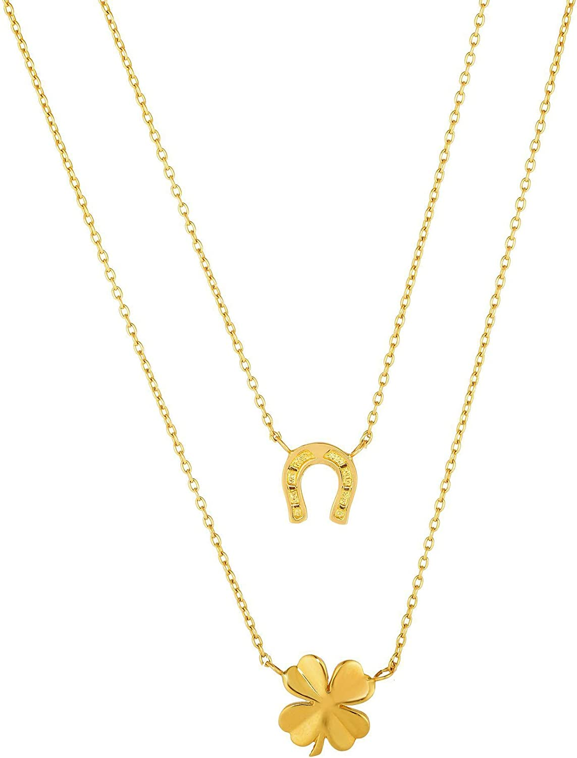 14k Yellow Gold Four Clover Horse Shoe Chain Necklace, 17