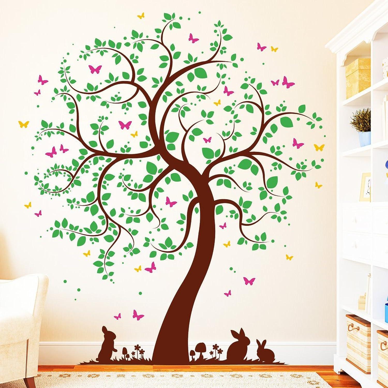 """Wandtattoo Loft Wandaufkleber 4farbig Baum mit Hschen""""- selbstklebender Wandsticker in 4 frei whlbaren Farben   3 Gren  Baum mit Wiese und Hasen   grün   170 cm breit x 200 cm hoch"""