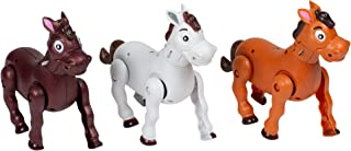 Set of 3 Musical Galloping Action Sound Western Horses 7 Inch Toys