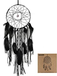 CHICIEVE Handmade Black Dream Catchers,Small Dream Catchers with Lace Tassels and Amethyst Stone for Bedroom Wall Hanging Home Decor Ornament Craft Gift 7.9