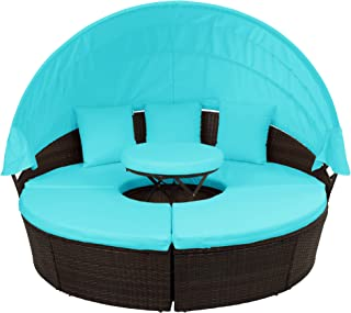 FLIEKS Outdoor Patio Round Daybed Furniture with Retractable Canopy and Coffee Table, Wicker Rattan Sofa Set Waterproof Cushions Backyard Lawn Garden Pool Porch (Blue Cushion)