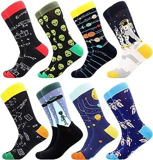 BONANGEL Chaussettes amusantes pour homme, colorées et amusantes à motifs, en coton peigné, chaussettes de bureau, mi-moll...