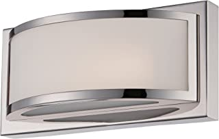Nuvo Lighting 62/311 Mercer LED One Light Wall Sconce 4.8 Watt 285 Lumens Soft White 2700K KolourOne LED Technology Frosted Glass Polished Nickel Fixture